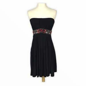 WHBM | Strapless Beaded Waist Dress Black Red 0